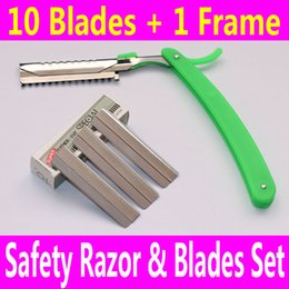 Wholesale Blade Trimmers - 1 Safety Razor Frame with 10 Blades Moustache Beard Body Hair Legs Arms Shaver Eyebrow Trimmer Shaping for Men Women Male Female