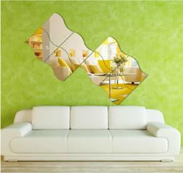 Wholesale Tv Wall Design Wallpaper - 3D Wallpaper Acrylic Mirror Wall Sticker Dressing Room Mirror Living Room TV Wall House Decorative Wave Shape Mural