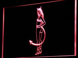 Wholesale Sexy Neon Signs - Wholesale-i764-r Sexy Devil Girl NEW Beer Bar LED Neon Light Sign Wholeselling Dropshipper