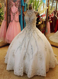 Wholesale Halter Sweetheart Ball Gown - Beaded Ball Gown Wedding Dresses Halter Floor Length Organza Crystal Rhinestone Sexy Luxury Bridal Dress Personalized 2015 Wedding Gowns