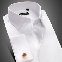 Wholesale Hot Slim Dress - Hot sale 100% Cotton Mens Long Sleeve White Shirts Mens pure wedding dress shirts slim groom Casual Shirts Free shipping