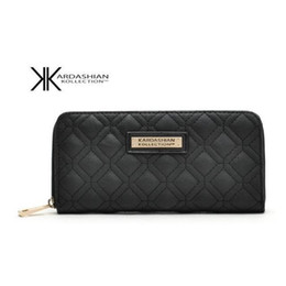 Wholesale High American - Hot Selling Kk Wallet Long Design Women Wallets PU Leather Kardashian Kollection High Grade Clutch Bag Zipper Coin Purse Handbag
