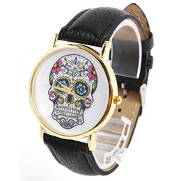Wholesale Leather Watches For Women Cheap - Cheap Fashion Design Quartz Women Watches Skull Pu Leather Wristwatch Ladies Luxury Watch For Women Wholesale