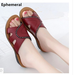 Wholesale american wedges - Europeand and American style genuine shoes women slippers cow leather low heel slides wedge summer black red plus size 40 41