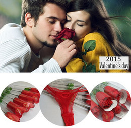 Wholesale Costume T String - New Valentine Day gift Rose Flower Sexy Ladies underwear women Panties Lingerie Sexy Costumes Briefs Knickers Sexy Underwear g-string T-Back