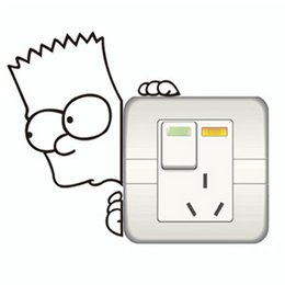 Wholesale Sticker Simpsons - the bart Simpsons cute cartoon switch stickers on off stickers wall decoration vinyl decal off the wall vintage poster
