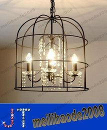 Wholesale Wrought Iron Chandelier Crystals - American Pastoral Creative Wrought Iron Bird Cage Crystal Chandelier Lighting Living Room Dining Room Bedroom Den MYY13629