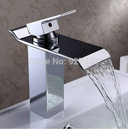 Wholesale Bamboo Waterfall Faucet - Free Shipping Single Lever Waterfall Basin Sink Mixer Taps Deck Mounted Hot and Cold Bathroom Sink Faucet 0931#31