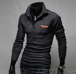 Wholesale Long Slim Polo Design - New Arrival Spring Pure Color Fashion-designed Long Sleeve Turn-down Collar Slim Leisure Men's T-shirt 2 Colors Plus Size M L XL XXL
