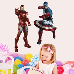 Wholesale Paper Iron Man - 50x70cm Creative 3D PVC Wall Sticker Super Hero Captain America Iron Man Thor Hulk Black Window Pattern Home Decor Kids Bedroom