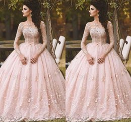 Wholesale pink debutante gowns - Pink Long Sleeve Prom Dresses Ball Gown Lace Appliqued Bow Sheer Neck 2017 Vintage Sweet 16 Girls Debutantes Quinceanera Dress Evening Gowns