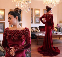 Wholesale black velvet t shirt - 2016 Velet Burgundy Gorgeous Long Sleeves Aso Ebi Evening Dresses with Beaded Appliques Collar Mermaid Long Prom Dresses Fiesta Party Gowns