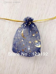 Wholesale Printed Organza Bags Wholesale - Wholesale-Free Shipping! 100pcs lot 9*12cm Deep Blue Printed Star&Moon Organza Bags Drawstring bags Beads Pack Gift Pouches