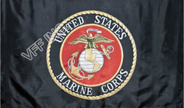 Marines bandiere online-Nero USMC Marines Marine Corps Emblem Flag 3ft x 5ft Poliestere Banner Flying 150 * 90cm Bandiera personalizzata AF11 all'aperto