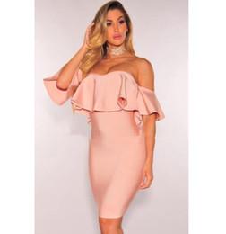 Wholesale Xs Mini Club Dresses - High Quality Slash Neck Pink Ruffles Rayon Mini Bandage Dress Evening Party Dress