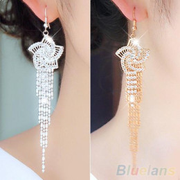 Wholesale Tassel Earrings Hook - Wholesale-Women's Rhinestone Alloy Flower Long Tassels Drop Hook Dangle Cocktail Party Linear Earrings 1SDT