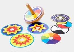 Wholesale Wood Spinning Tops - Classic Wooden Spinning Top Children Wood Toy with 8 Pieces Color Cardboard Gift Box Packing Wholesale 10 Pcs lot Free Shipping