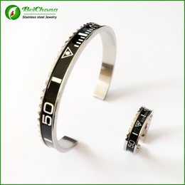 Wholesale Letters Wedding Rings - BC Jewelry Free shipping Luxury brands Speedometer Stainless Steel Bracelet Ring set Speedometer Offical Jewelry BC-0072
