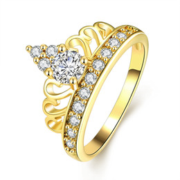 Wholesale Crown Ladies Rings - Lady Acessories Royal Crown Shaped Genuine Crystal Paved Stylish Womens Ring Size 7 Jewelry Gift Free Shipping
