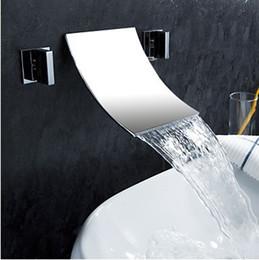 Wholesale Fixing Sink Faucet - Freeshipping B&RLuxury 3 holes faucet Wall mounted sink faucet waterfall tap brass basin mixer LT-304-2