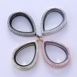 Wholesale Love Picture Frames - Mix Hot rhinestones Waterdrop glass photo frame floating locket pendant silver stainless steel crystal picture charms
