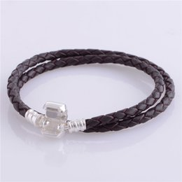Wholesale Clips For Plating - 2016 Black Brown Leather Snake Chain 925 Sterling Silver Plated Clip Bracelets Suitable for Pandora Style 925 Silver jewelry Charms&Beads