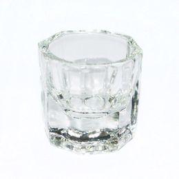 conteneurs de poudre en gros Promotion Récipient en verre de forme de tasse de verre de forme octogonale Dappen pour la poudre liquide Arcylic Nail Art