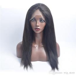 Wholesale Retail Virgin Hair - Free shipping!100% Pure Human Hair,Wholesale Retail,Lady's Black,Dark Long Yaki Virgin front Lace Wig