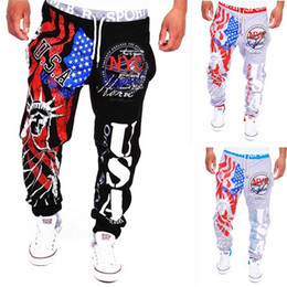 Wholesale Liberty Sports - Wholesale-2016 new fashion men's casual trousers liberty image USA American flag printing man sports pants