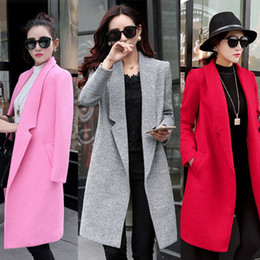 Wholesale Ladies Pink Winter Coats - 2018 New Wool Blend Long Coat Elegant Ladies Colored Trench Coat Slim Winter Woolen Overcoat Red Pink Orange Green MGG1112