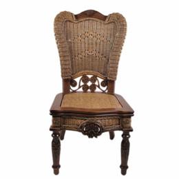 Canada Chaise en bois avec chaise en osier Enron House en bois sculpté prêt pour le fauteuil de table américain Jiangsu Province Offre