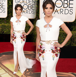 Wholesale Eva Longoria Ivory Dress - Eva Longoria 2016 Printing Celebrity Dresses Unique Neck Plants Embroidery White Short Sleeves Front Split Court Train Red Carpet Gowns