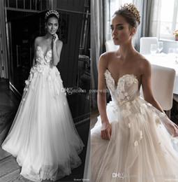 Wholesale White Rose Lace Wedding Dresses - illusion jewel sweetheart embellished ruched bodice wedding dresses 2018 elihav sasson 3D rose flower chapel train wedding gowns