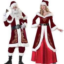 2019 homem de traje de papai noel Conjunto Completo De Trajes De Natal Papai Noel Para Adultos Roupas de Natal Vermelho Traje Do Papai Noel Uniforme De Luxo Traje de Natal para Mulheres Dos Homens desconto homem de traje de papai noel