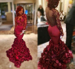 Wholesale Floral Water Picks - Dark Red Rose Mermaid Prom Dresses 2016 Crew Long Sleeves Illusion Back Applique Evening Gowns Floral Ruffles Sweep Train Formal Party Dress