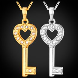 Wholesale Clear Love Heart - MGC Heart Key Cute Pendant Necklace 18K Gold Platinum Plated Clear Austrian Rhinestone Fashion Jewelry For Women P1043