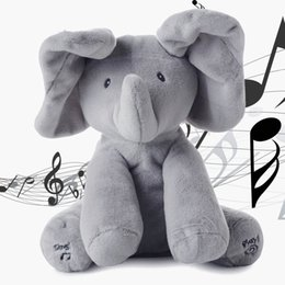 Wholesale Baby Songs Animals - Cute Elephant Stuffed Animals Plush Toy Electronic Sing Song Play Hide And Seek Elephant Baby Kids Soft Doll