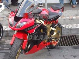 Carenado para kawasaki ninja rojo zx6r online-Rojo Negro Glod Inyección moldeado personalizado carenado Kawasaki Ninja ZX6R 13-15 07