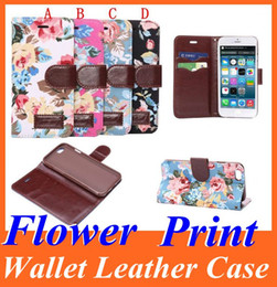 Wholesale Iphone 4s Credit Card Pouch - Flower Print Wallet PU Flip Leather Case Cover Skin Pouch with Credit Card Slot Stand Holder for Iphone 6 Plus 4.7 5.5 5 5S 4 4S 4 Colors