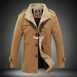 Wholesale Mens Woolen Long Coats - Autumn And Winter Fashion Brand Wool Coat Men Middle Long Jackets And Coats Mens Outdoor Warm Woolen Overcoat M-3XL 4XL XY831