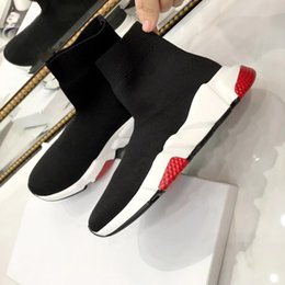 Wholesale Casual Leather Boots Men - 2018 New Sock Boots High Quality Speed Trainer Running Shoes For Men And Women Sports Shoes Speed Stretch-Knit Mid Casual Sneaker Size 35-46