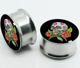 Wholesale Mixed Flesh Tunnel Sale - factory sales New Fashion Hot Stainless Steel non-Screw Ear Plug Tunnel Stretcher Flesh Gauge Expander mix 6 size 60pcs Free Shipping