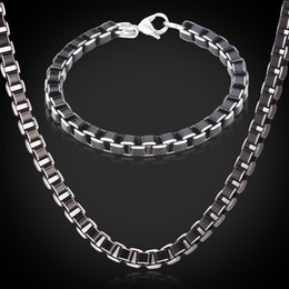 Wholesale Gifts Item China - U7 Black Box Chain Necklace Bracelet Set Stainless Steel Jewelry Cool Items High Quality Alloy Men Jewelry Steampunk Party Gift