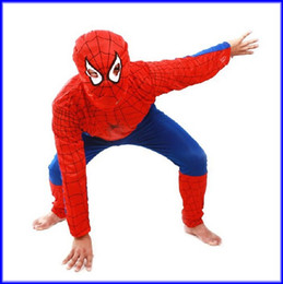 Wholesale Boys Spider Costume - Halloween Costume Party Spiderman Clothing Clothes Child Kids Spider-Man Suit 50sets