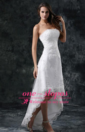 Wholesale aline dresses - Hi-low Lace Elegant Aline Wedding Dresses 2015 Strapless Appliqued Cheap Beading Wedding Gowns Backless Sweep Train Bridal WeddingGownCPS110