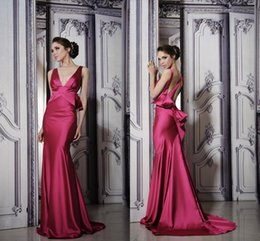 Wholesale Pnina Tornai V Neck Mermaid - 2017 Pnina Tornai Evening Dresses Fuchsia Red Formal Gowns Sexy Mermaid V Neck Empire Open Back Long Cocktail Party Dresses Custom Made