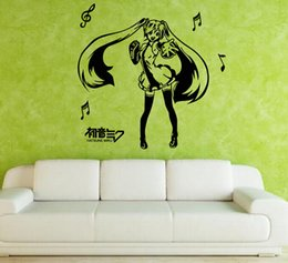 Wholesale Cool Dance Music - Anime Cartoon Musical Note Hatsune Miku Playing Music Singing And Dancing Sketch Cool Propile Wall Sticker Decal Home Decor For Anime Fans