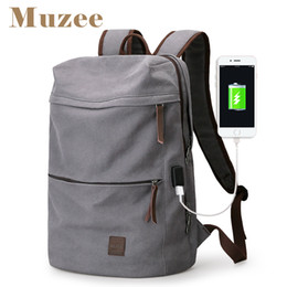 Wholesale Male Computer Backpacks - Muzee 2017 New Canvas Backpack USB Design Backpack Men male Student Bag for Weekend Mochila suit for 15.6 inches Latop backpack