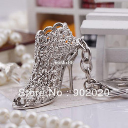 Wholesale Key Chains High Heel Shoes - [1 piece] Free Shipping 2014 New Product Fancy Metal High Heel Shoe Keychain Key chain 5462 Individual Gift Box Packing