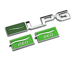 Wholesale Chevrolet Cruze Tail - Green ECO Chrome Metal Car Tail Emblems Stickers Exterior Decoration Malibu Cruze LPG Refitting Badges Styling Accessories 1745